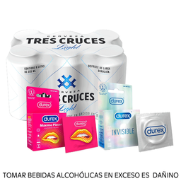 Combo Tres cruces light 355ml + Durex invisible + Máximo Placer