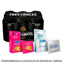 Combo Tres cruces lager 355ml + Durex invisible + Máximo Placer