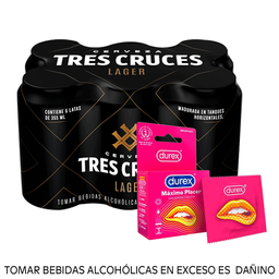 Combo Tres cruces lager 355ml + Durex Máximo Placer