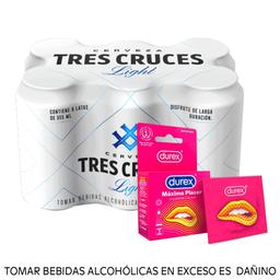Combo Tres cruces light 355ml + Durex Máximo Placer