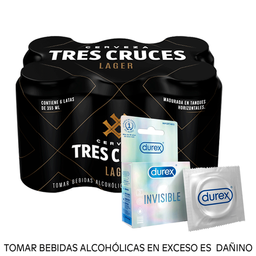 Combo Tres cruces lager 355ml + Durex Invisible
