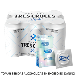 Combo Tres cruces light 355ml + Durex Invisible