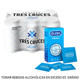 Combo Tres cruces light 355ml + Durex Clásico Big size 12u