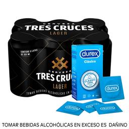 Combo Tres cruces lager 355ml + Durex Clásico Big size 12u