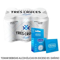 Combo Tres cruces light 355ml + Durex clásico