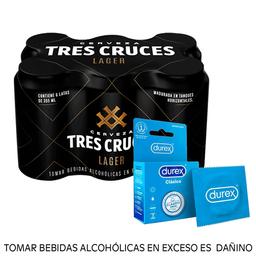 Combo Tres cruces lager 355ml + Durex clásico