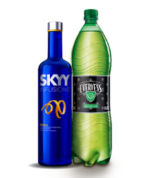 Vodka Skyy Regular,Manzana O Citrus De 750 Ml. Evervess De 1.5 L