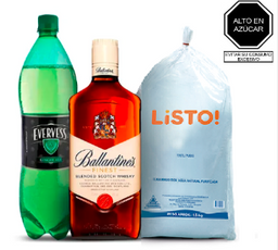 Ballantines Finest De 750 Ml. + Evervess + Hielo De 1.5 Kg.