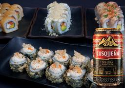 🍣  Sushi Promo Paquete 2 + 2 Latas Cusqueñas