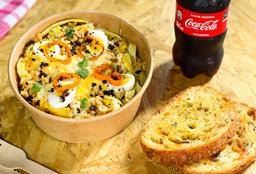 Jueves: Pasta a la Huancaína + Pan al Ajo + Bebida