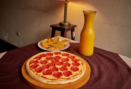30% Pizza Grande + Pan al Ajo + Bebida