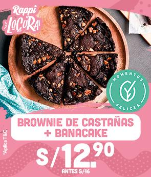 Brownie de castañas + banacake a S/.12.90