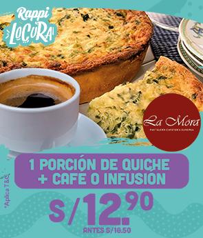 1 Porción de Quiche + Café o Infusión